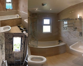 Before and after of bathroom